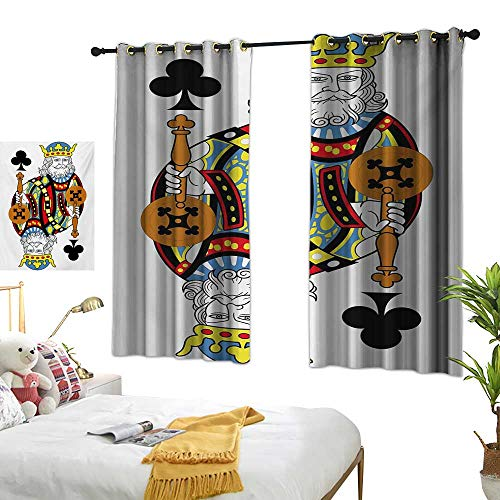 Living Room Curtain W55 x L72 King,King of Clubs Playing Gambling Poker Card Game Leisure Theme Without Frame Artwork,Multicolor Bedroom Living Room Dining Room