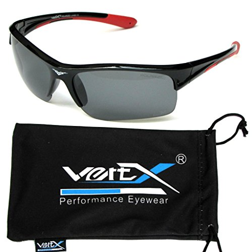 VertX Men's Polarized Sunglasses Sport Cycling Running Outdoor Free Microfiber Pouch – Black & Red Frame Smoke - Discount Oakley Sunglasses