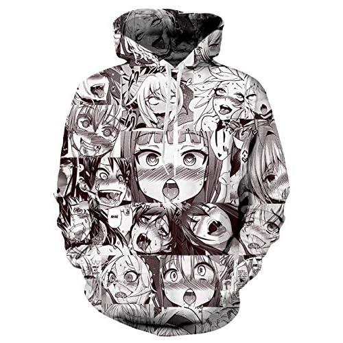 bettydom Mens Fashion 3D Sweatshirt Japanese Anime Ahegao Face Hoodies Zip-Up Jacket