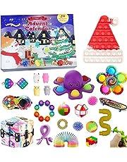 2021 Fidget Adventskalender Speelgoedset, 24 dagen Kerst Countdown Kalender Sensory Fidget Toys Pack, Eenvoudige Dimple Pop Fidget Box, Verrassing Geschenken Dozen Xmas Party Favor Pack (D-Fidget Toy, OneSize)