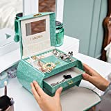 LANGRIA Lockable Jewelry Boxes for Women Small Jewelry Organizer/ Case With Mirror (Green)