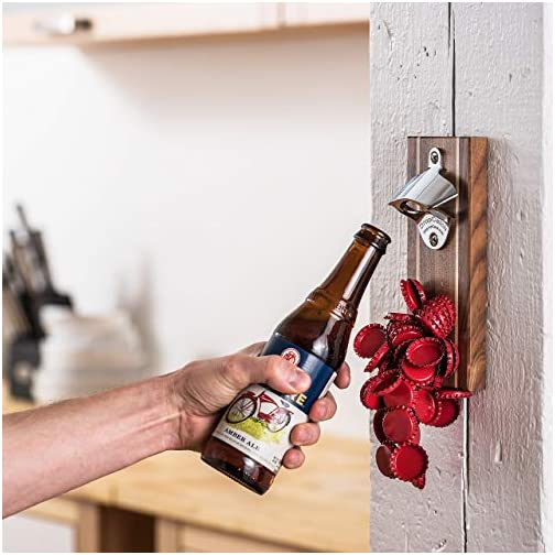 DropCatch Magnetic Wall Mounted Bottle Opener & Cap Catcher - 40 Caps |