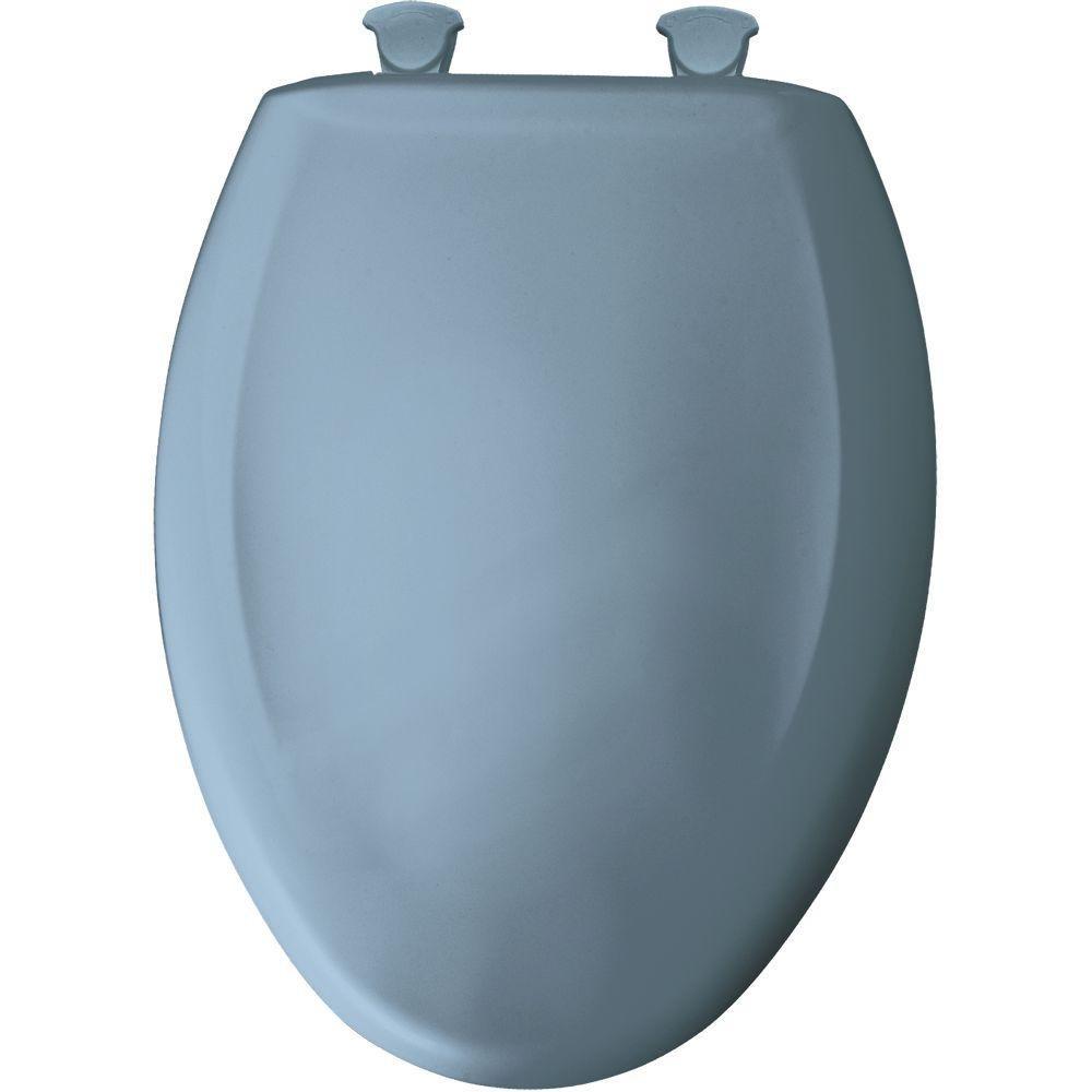 Bemia|#Bemis 1200SLOWT 304 Slow Close Sta-Tite Elongated Closed Front Toilet Seat, Glacier Blue,