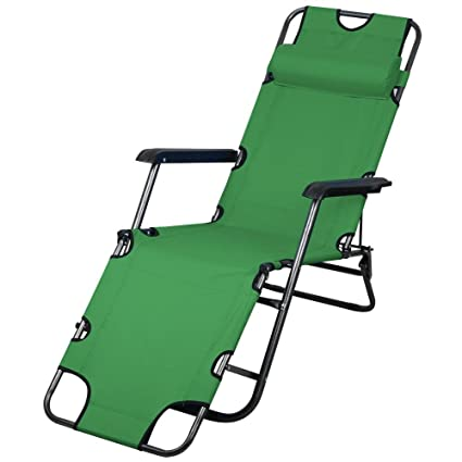 Topeakmart Portable 70inch Chaise Lounge Chair Bed Folding Camping Recliner  With Adjustable Pillow For Outdoor Patio