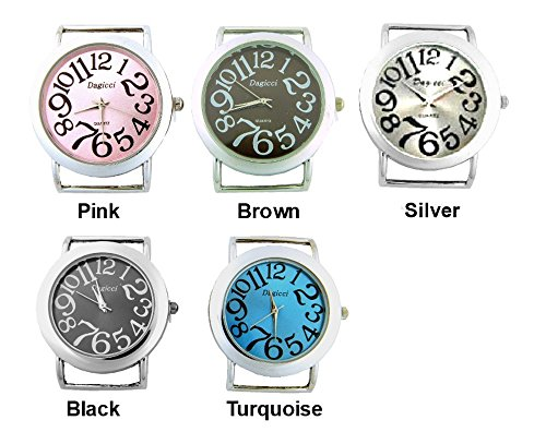 PlanetZia 2pcs Large Numbers Round Watch Faces for Your Interchangeable Beaded Bands TVT-CD74-1 (Silver)