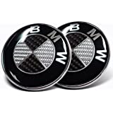 2X 82mm Real Carbon Fiber BMW Black/Silver Hood/Trunk Emblems Badges Replacement