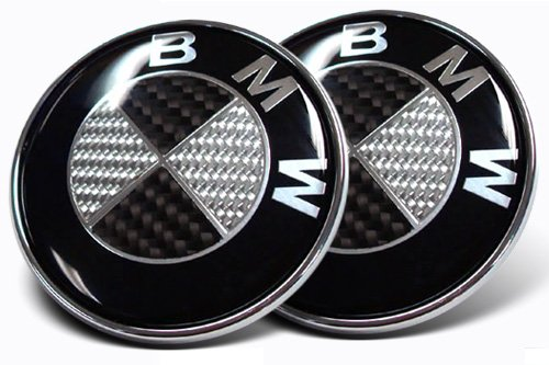 2X 82mm Real Carbon Fiber BMW Black/Silver Hood/Trunk Emblems Badges Replacement (Bmw X5 Accessories 2001 compare prices)
