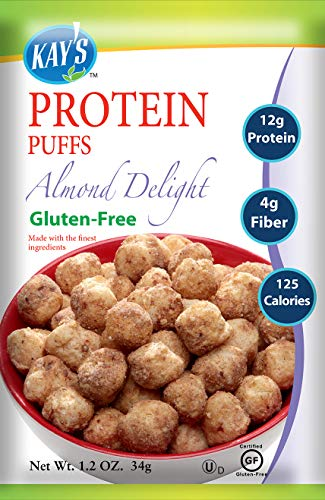 Kay's Naturals Protein Puffs, Almond Delight, Gluten-Free, Low Carbs, Low Fat, Diabetes Friendly All Natural Flavorings, 1.2 Ounce (Pack of 6)