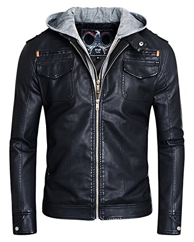 Fairylinks Mens Faux Leather Jacket Motorcycle with Hood