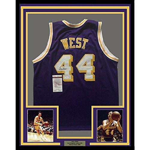 62c122e08 Signed Jerry West Jersey - FRAMED 33x42 LA Purple COA - JSA Certified - Autographed  NBA