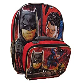 Batman vs Superman 16 inch Backpack with Detachable Lunch Bag