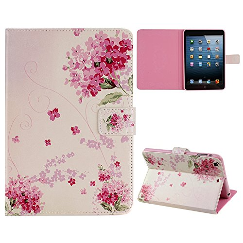 UZZO™Folio case for iPad mini PU Leather Case Small fresh flowers Series Flip Protective Case Book Style Cover Smart Cover Case Magnetic Flap Closure Soft TPU Inner Built-in Stand and Front/Back Protection for iPad mini 2 3 +Free Key Ring Great Christmas gift for Girls