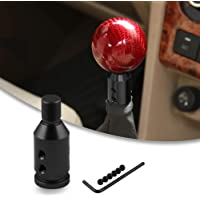 Festnight Car Manual Gear Shift Knob Shifter Black Leather Red Stitch 6 Speed Universal