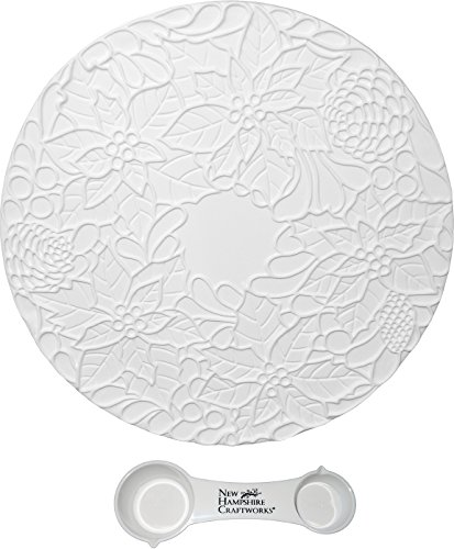 Fancy Poinsettia Round Tile Mold - Includes Frit Measuring Spoon - Fusible Glass Frit Casting Mold