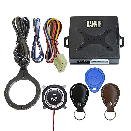 BANVIE Leather Key Auto Car Alarm Engine Push Button Start Stop RFID Lock Ignition Switch Keyless Entry System Anti-Theft