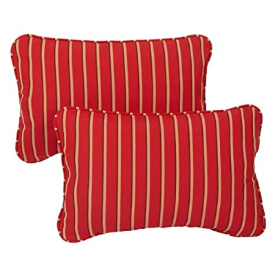 Mozaic AZPS6914 Indoor Outdoor Sunbrella Lumbar Pillows with Corded Edges, Set of 2 12 x 18 Red, Gold & Black Stripes - Color:  Sunbrella Red/ Gold Stripe Materials: Acrylic fabric, filled with 100% recycled polyester fiber Weather, mildew, fade and stain resistant with UV protection - patio, outdoor-throw-pillows, outdoor-decor - 51F5FsP9ZGL. SS400  -