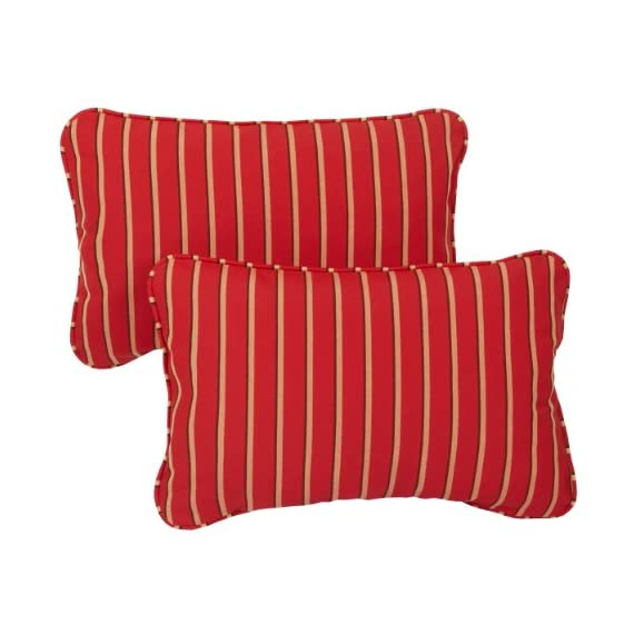 Mozaic AZPS6914 Indoor Outdoor Sunbrella Lumbar Pillows with Corded Edges, Set of 2 12 x 18 Red, Gold & Black Stripes - Color:  Sunbrella Red/ Gold Stripe Materials: Acrylic fabric, filled with 100% recycled polyester fiber Weather, mildew, fade and stain resistant with UV protection - patio, outdoor-throw-pillows, outdoor-decor - 51F5FsP9ZGL. SS570  -