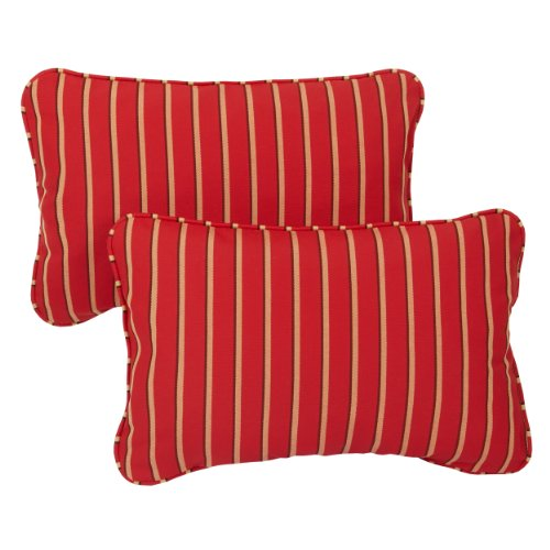 Mozaic Company Sunbrella Indoor Outdoor 13 by 20-inch Corded Pillow, Harwood Crimson, Set of 2