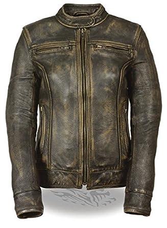 6acb16923 Milwaukee Leather Ladies Brown Distressed Biker Jacket Vents