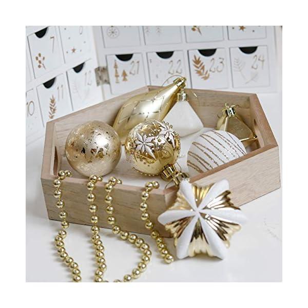 Valery Madelyn Palle di Natale 90 Pezzi di Palline di Natale, 3-10 cm Eleganti Ornamenti di Palla di Natale Infrangibili Bianchi e Oro per la Decorazione Dell'Albero di Natale 6 spesavip