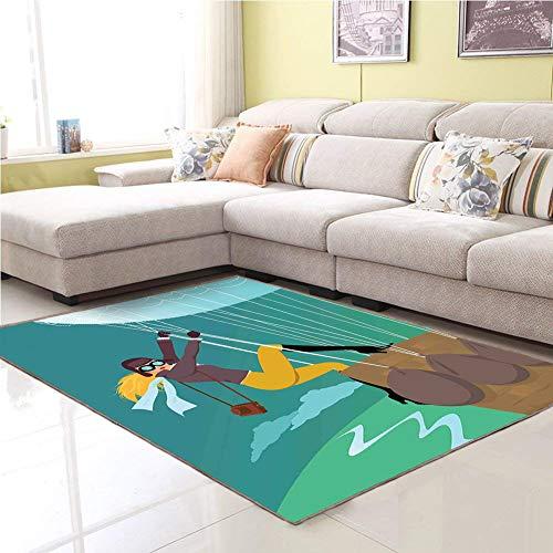 Home,Indoor/Outdoor Carpet,Bath tub Mat,Bathroom Mat,Explore,Vintage Cartoon Style Explorer Spy Woman Figure Adventurer on a Hot Air Balloon,Multicolor,door mats home Mat