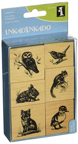 Inkadinkado Wildlife Friends Woodland Animals Mounted Rubber Stamp Set, 6 pc
