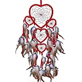 Heart Dream Catcher Brown Red Wall Hanging with Feather Bead Ornament Hanging Decorations,Burgundy