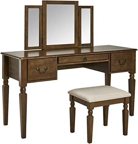 AmazonBasics Classic Grand 3-Piece Mirror Table Vanity Set with Stool - Walnut