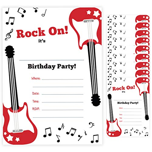 Guitar Style 2 Happy Birthday Invitations Invite Cards (10 Count) With Envelopes Boys Girls Kids Party (10ct) (Guitar Birthday Invitations)