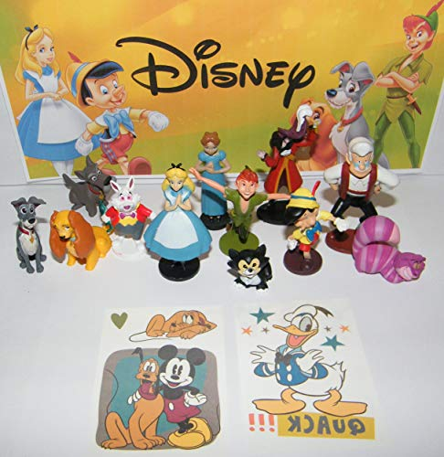 Playful Toys Disney Original Movie Figure Set of 14 Toy Kit Featuring Figures from Peter Pan, Alice in Wonderland, Pinocchio and More with 2 Vintage Disney Tattoos!