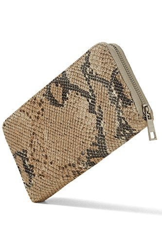 Wallet With Zipper Coin Purse Card Slots Python Skin Leather (Light Beige, 7.5