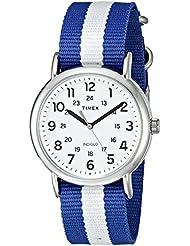 Timex Unisex TW2P67800 Weekender Blue/White Stripe Nylon Slip-Thru Strap Watch