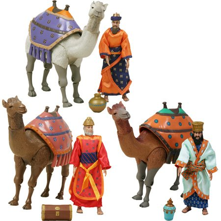 (Birth of Jesus Three Wisemen and Camels Action Figure Set )