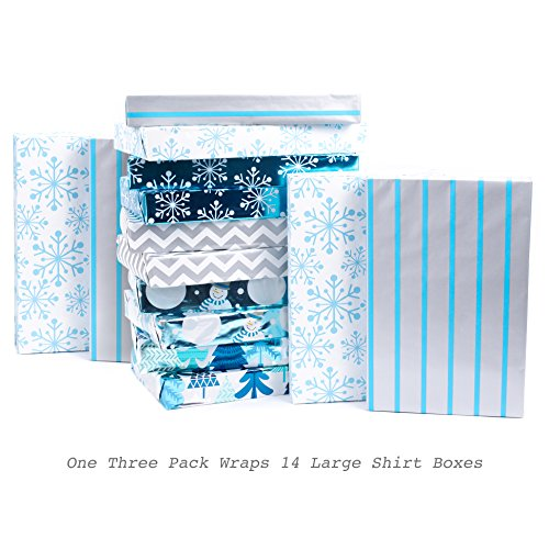 Hallmark Reversible Christmas Wrapping Paper, Elegant Foil, Blue and Silver (Pack of 3; 60 sq. ft. ttl.)