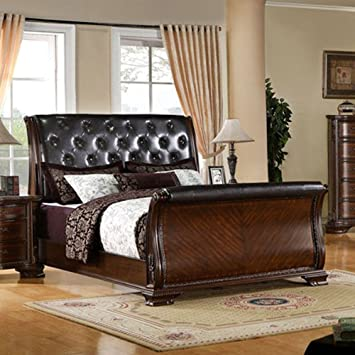 south yorkshire baroque style brown cherry finish eastern king size bed frame set