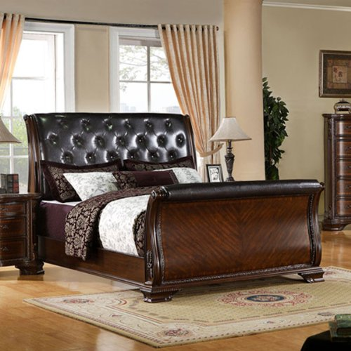 24/7 Shop at Home 247SHOPATHOME IDF-7267Q FA-CM7267Q-BED Sleigh Bed, Queen, Cherry ()