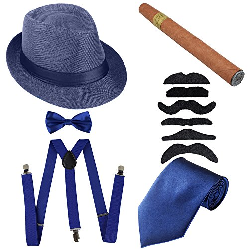 1920s Mens Accessories Hard Felt Panama Hat, Y-Back Suspenders & Pre Tied Bow Tie, Tie,Toy Cigar & Fake Mustache (OneSize, 1Blue) -