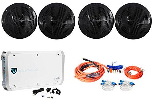 """Rockville RMC80B 8"""" 1600w Marine Boat Speakers+6-Channel Am"""