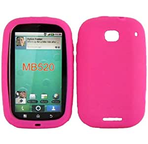 Hot Pink Silicone Jelly Skin Case Cover for Motorola Bravo MB520