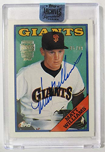 Autograph Giants Francisco - Matt Williams 2018 Topps Archives Encased 1988 Topps On Card Auto Serial #85/99 San Francisco Giants Autograph