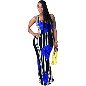 TEXXIS Women Casual V-Neck Sleeveless Floral Striped Long Slim Pencil Dress Dresses