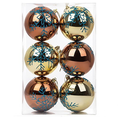 SANNO Christmas Ball Tree Ornaments Bronze Gold Ball with Blue Glitter Snowflake Shatterproof Party Decor , 6 Set, 100mm/3.94