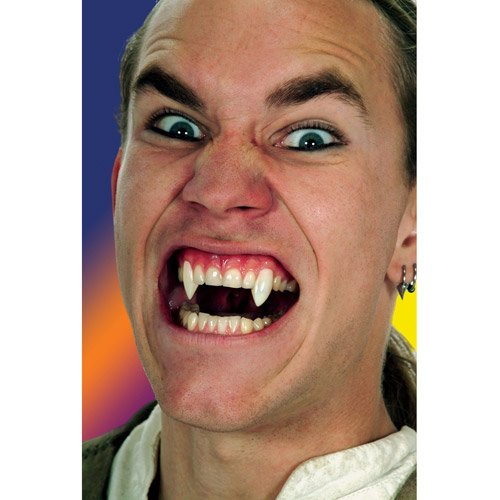 Scarecrow Adult Unisex Deluxe Vampire Fangs, White, Includes Puddy Glue,...