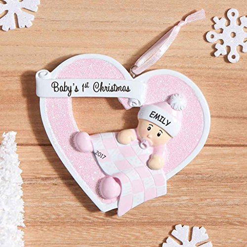 Personalized Heartily Yours Baby's First Christmas Ornament (Girl)