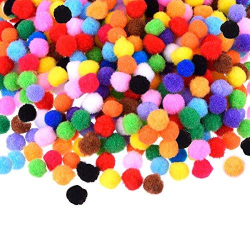 PandaHall Elite About 360 Pcs Arts Craft Pom Poms Glitter Poms Sparkle Balls with Tinsel Diameter 12-30mm Assorted Color
