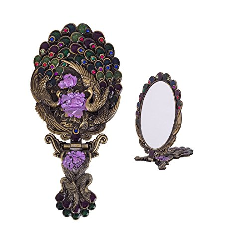 - Moiom Vintage Style Metal Foldable Oval Peacock Flower Pattern Makeup Hand/Table Mirror (Bronze)