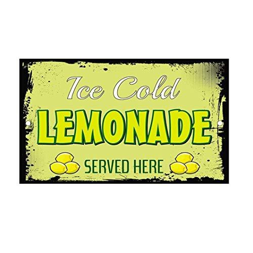 BIN SHANG Metal Room Sign Ice Cold Lemonade Served Here Lemons Vintage Aluminum Wall Poster Yard Fence Decor Sign Gift (Vintage Lemonade)