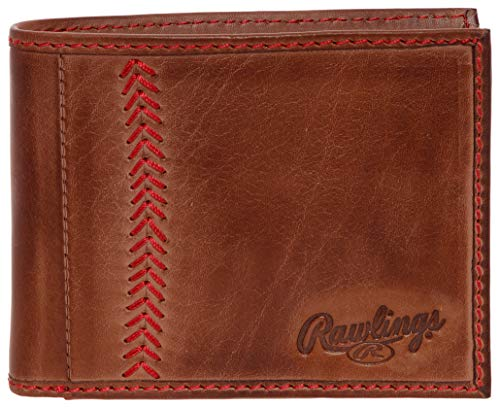 Leather Baseball Stitch - Rawlings Mens Tanned-leather Baseball Stitch Embroidered Wallet - (Dark Brown)