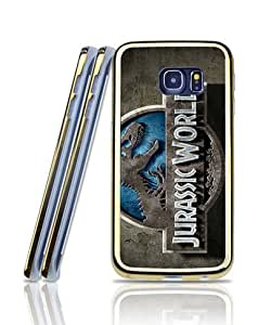 Film Jurassic World Logo Funda Case For Galaxy S6 Edge, 2 in 1 Hybrid Dual Layer Cool Simple Style Golden-Bordered Drop Resistant + TPU Protective Funda Case Skin For Samsung Galaxy S6 Edge [Just for S6 Edge]