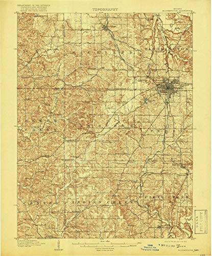 YellowMaps Bloomington in topo map, 1:62500 Scale, 15 X 15 Minute, Historical, 1910, Updated 1919, 19.8 x 16.5 in - ()